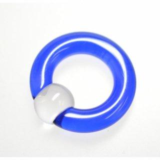 UVアクリル製 キャプティブビーズリング ブルー×クリア 4G