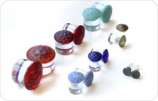 【オーダーメイド】GORILLA GLASS ゴリラグラス ボロシリケイトガラス製 マルテレカラーフロント ロングシングルフレアプラグ ボディピアス