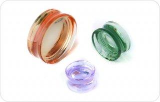 【オーダーメイド】GORILLA GLASS ゴリラグラス ソーダライムグラス製 ソリッド Concaveダブルフレアプラグ ボディピアス