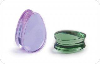 【オーダーメイド】Gorilla Glass ゴリラグラス ソーダライムグラス製 ソリッド ダブルフレア ティアドロップ型 プラグ ボディピアス