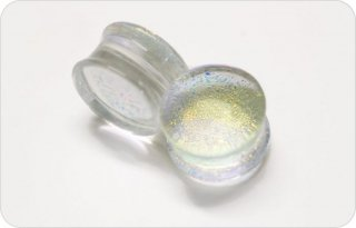 【オーダーメイド】Gorilla Glass ゴリラグラス ボロシリケイトガラス製 クリスタルダイクロイック ダブルフレアプラグ ボディピアス