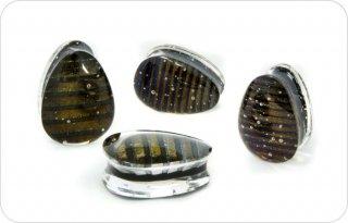 【オーダーメイド】Gorilla Glass ゴリラグラス ソーダライムグラス製 Iridescentダブルフレア ティアドロップ型プラグ ボディピアス