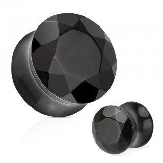 ブラックアゲート製 ダイヤモンドカット ダブルフレア プラグ