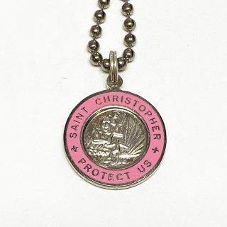 Saint Christopher セントクリストファー コインネックレス Medium (外側カラー:ピンク)