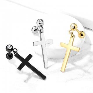 ステンレス製 十字架ダングル クリスタル入りトップ トラガス
