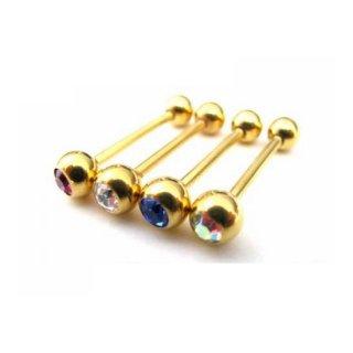 エクスターナル 14G ゴールドコーティング加工 ストレートバーベル ボディピアス 宝石入りボール付き