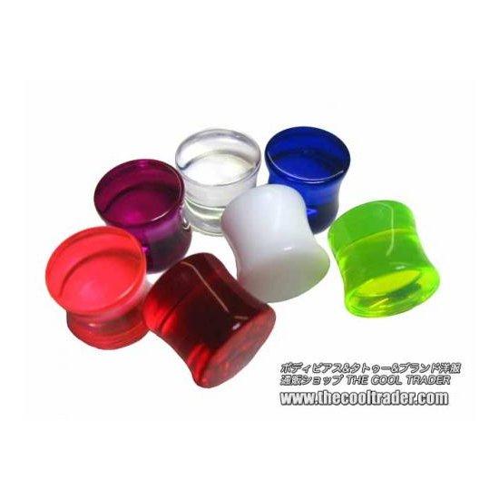 色選べる!カラフル UV アクリル製 サドル型 プラグ・ボディピアス 6G 1個