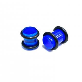 アクリル製 カラフル ベーシック プラグ型 ボディピアス 2個セット ブルー