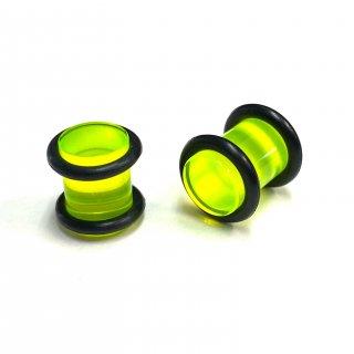 アクリル製 カラフル ベーシック プラグ型 ボディピアス 2個セット グリーン
