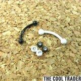 ホワイト&ブラックコーディング加工 サージカルステンレス製 バナナ型バーベル ボディピアス 宝石入り 16G
