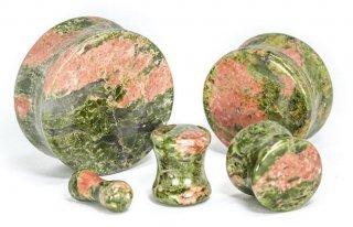 パワーストーン!!ユナカイト製 天然石 サドル型 ダブルフレア プラグ ボディピアス