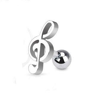 サージカルステンレス製 トラガス 耳用 バーベル ボディピアス 音符 16G