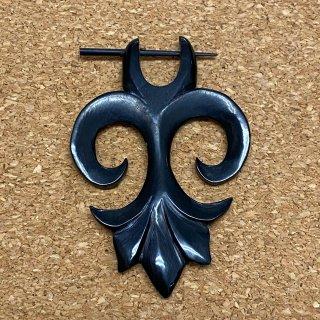 ホーン角製 手彫り オーガニック トライバル 百合の紋章 16G