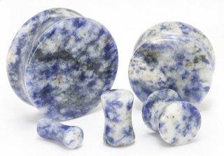 天然石 青斑点模様 ダブルフレア プラグ型ボディピアス
