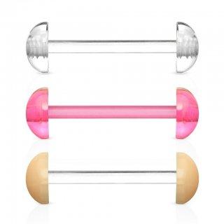 UVアクリル製 透明ピアス フレキシブル ストレートバーベル 半円ボール付 ボディピアス