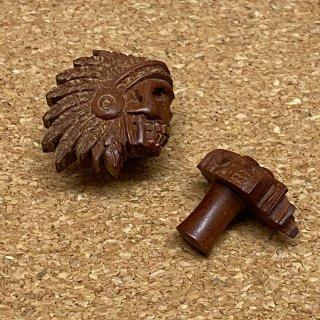 アメリカンインディアンヘッド 彫刻ウッド 木製 プラグ ボディピアス