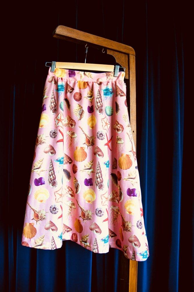 貝柄ギャザースカート サーモンピンク