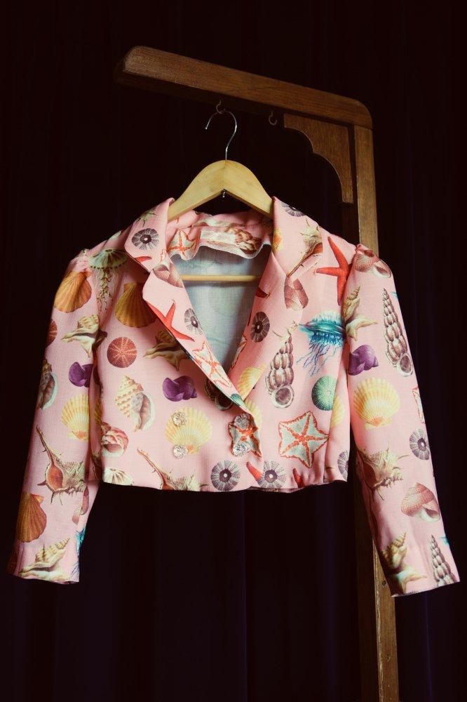 貝柄サマージャケット サーモンピンク