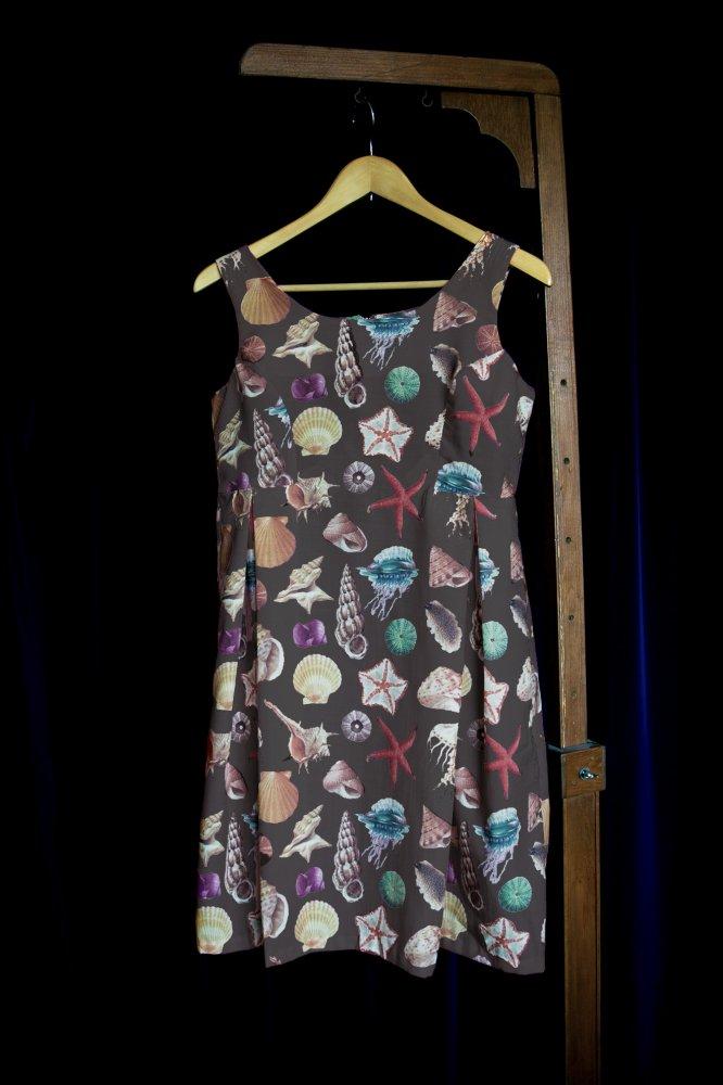 貝柄ドレス チャコールグレー