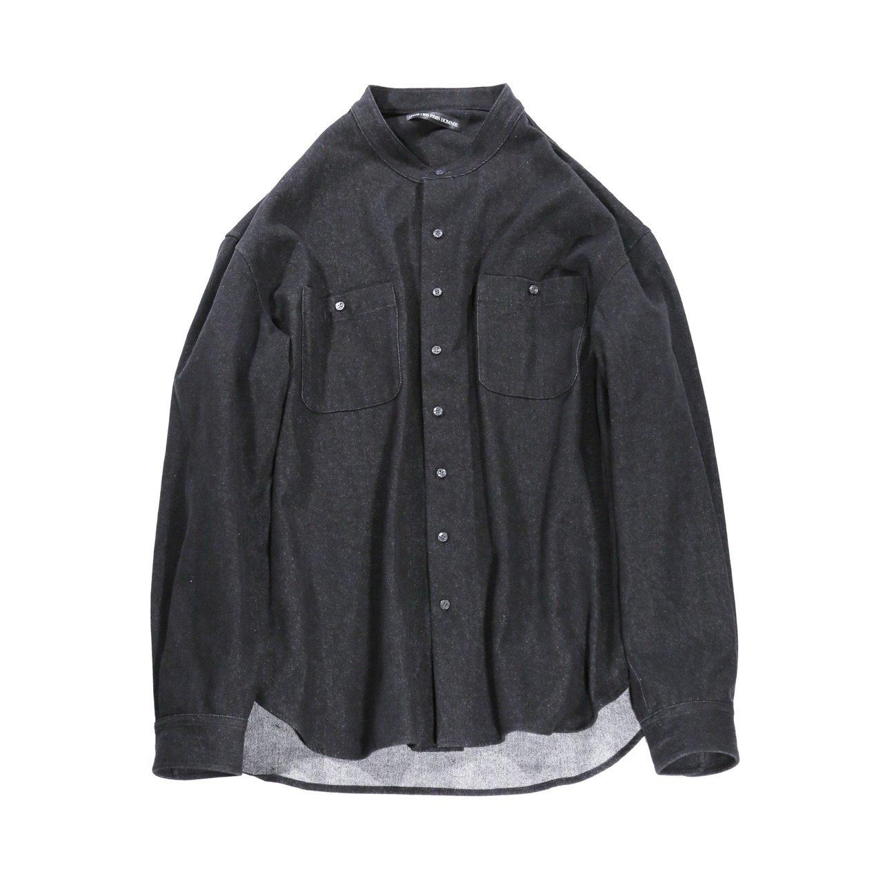 Oversized no collar black denim shirt jacket (受注商品)