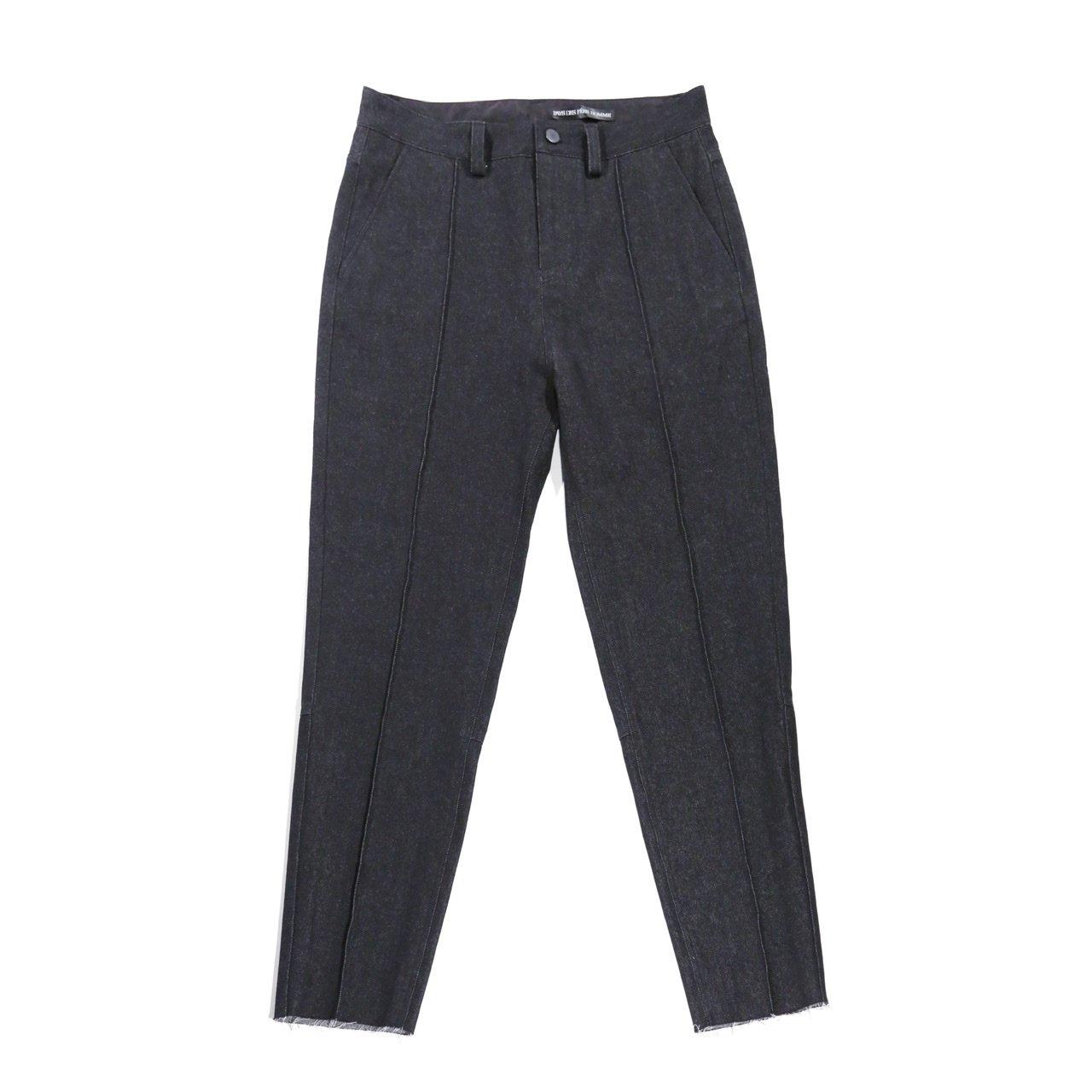 Black denim tapered pants