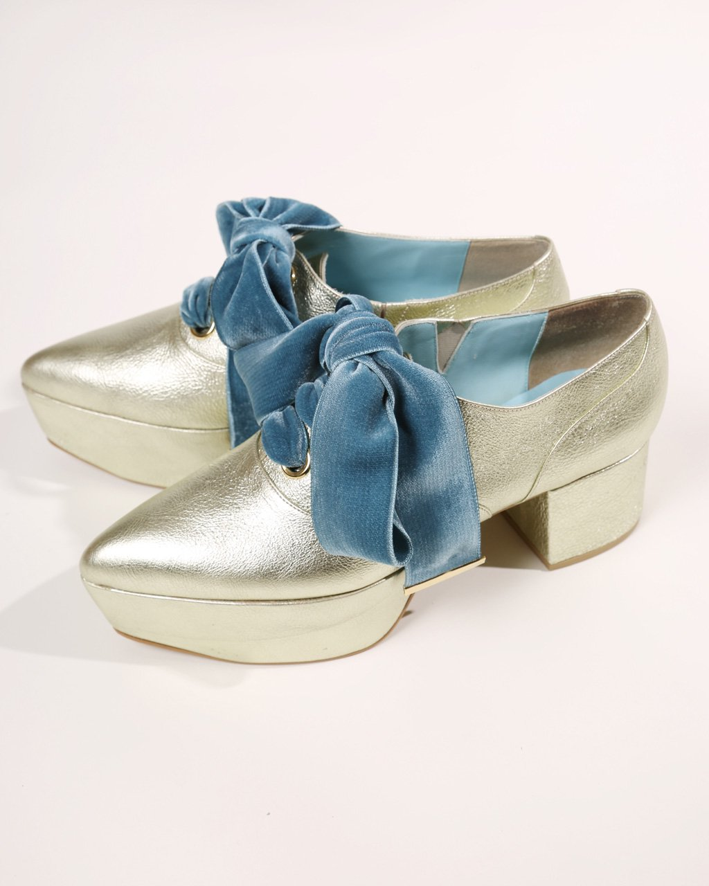 [ご予約]ribbon oxford shoes Velvet (Darkcyan)[8月お届け]