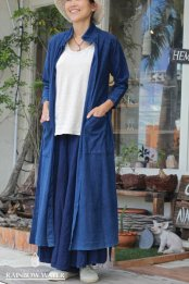 HEMP&COTTON ロングシャツコート / 藍染めINDIGO