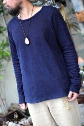 HEMP&ORGANIC COTTON メンズ スリムロングスリーブTシャツ FleeceBrushed / 藍染めINDIGO