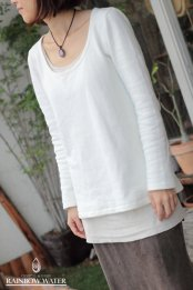 HEMP&ORGANIC COTTON レディース Uネック ロングスリーブTシャツ FleeceBrushed / NATURAL WHITE