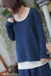 HEMP&ORGANIC COTTON レディース Uネック ロングスリーブTシャツ FleeceBrushed / 藍染めINDIGO