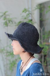 HEMP&COTTON 手編みハット / 草木染めCHARCOAL