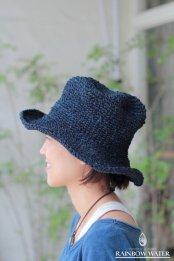 HEMP100% 手編みハット / 藍染めINDIGO
