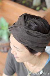 HEMP ORGANIC COTTON ヘアバンド-WIDE / 草木染めDARK BROWN