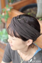 HEMP ORGANIC COTTON ヘアバンド / 草木染めDARK BROWN