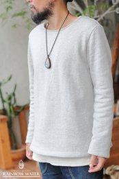 【COTTON】メンズ ノーマルネック ロングスリーブT-シャツ FleeceBrushed / GRAY