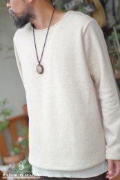 【COTTON】メンズ ノーマルネック ロングスリーブT-シャツ FleeceBrushed / BEIGE