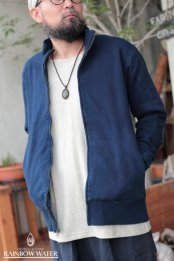 メンズ ジップアップ ジャケット FleeceBrushed / 藍染めINDIGO