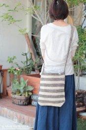HEMP100% 手編みショルダーバッグ / 草木染めボーダー