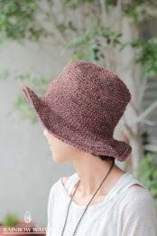 HEMP100% 手編みハット / 草木染めDARK PINK