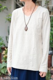 HEMP COTTON レディース Vネック ロングスリーブTシャツ - Small Neck / NATURAL OFF WHITE