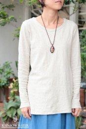 HEMP COTTON レディース ボートネック ロングスリーブTシャツ - Small Neck / NATURAL OFF WHITE