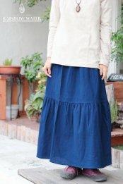 COTTON ティアード スカート / 藍染めINDIGO