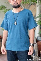 HEMP COTTON メンズ ノーマルネックT-シャツ / 藍染めLIGHT INDIGO