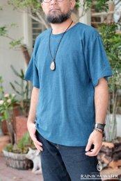 HEMP COTTON メンズ Ribネック T-シャツ / 藍染めLIGHT INDIGO