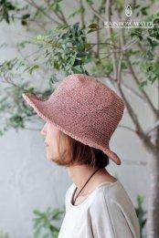 HEMP&COTTON 手編みハット / 草木染めLIGHT PINK