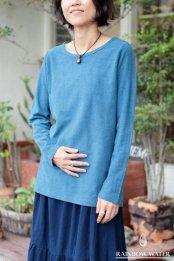 HEMP COTTON レディース ボートネック ロングスリーブTシャツ - Small Neck / 藍染めLIGHT INDIGO