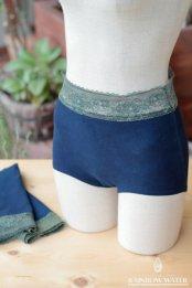 【LINEN COTTON】Lady's ボクサーパンツ - JustWaist / 藍染めINDIGO