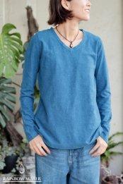 HEMP COTTON レディース Vネック ロングスリーブTシャツ - Small Neck / 藍染めLIGHT INDIGO