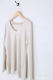 HEMP COTTON レディース Vネック ロングスリーブTシャツ / NATURAL OFF WHITE