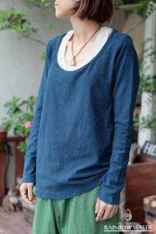 HEMP&COTTON レディース UネックロングスリーブTシャツ / 藍染めINDIGO